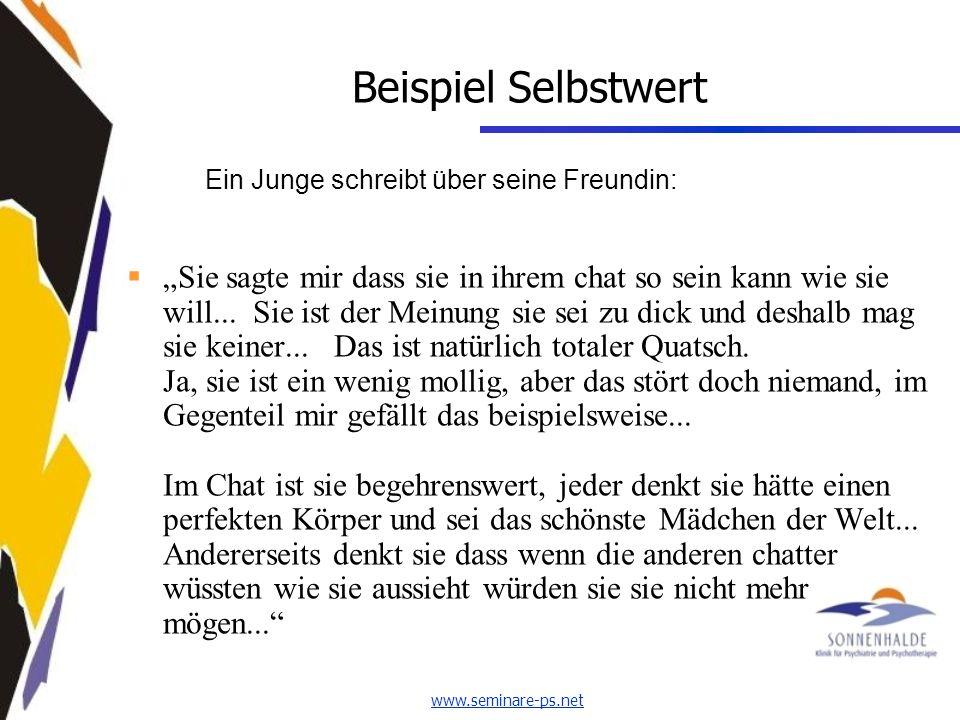 www.seminare-ps.net Beispiel Selbstwert Ein Junge schreibt über seine Freundin: Sie sagte mir dass sie in ihrem chat so sein kann wie sie will...