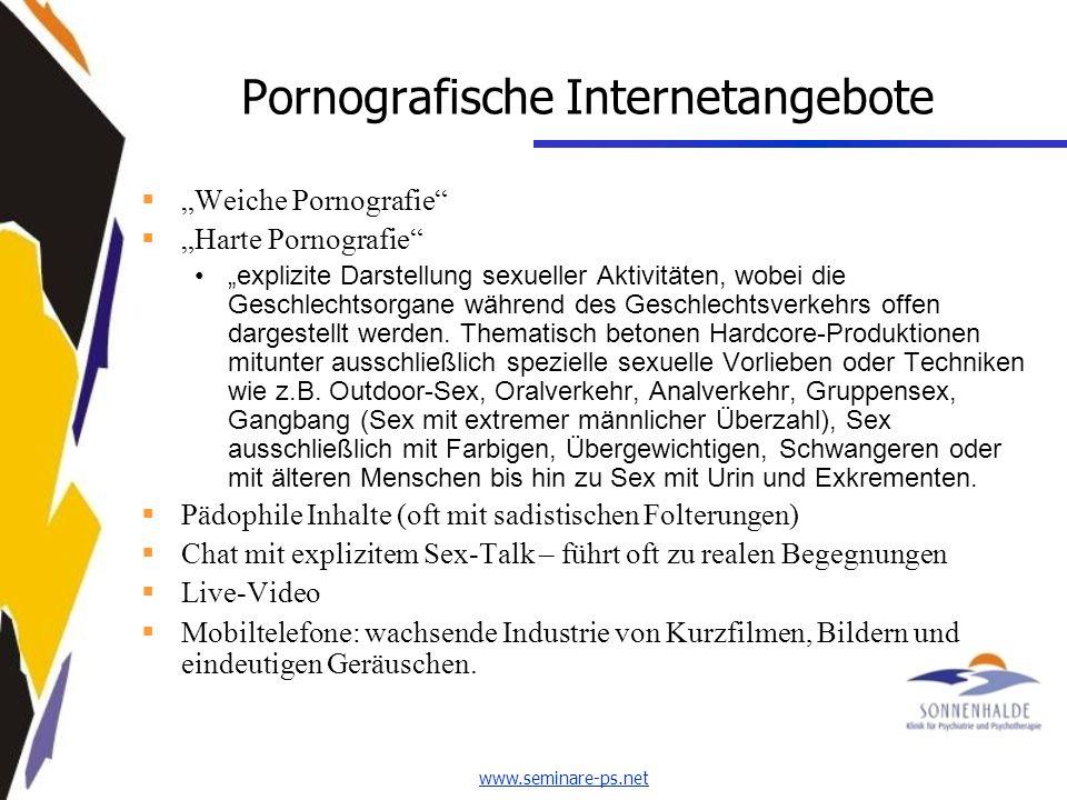 Pornografische Internetangebote Weiche Pornografie Harte Pornografie explizite Darstellung sexueller Aktivitäten, wobei die Geschlechtsorgane während des Geschlechtsverkehrs offen dargestellt werden.