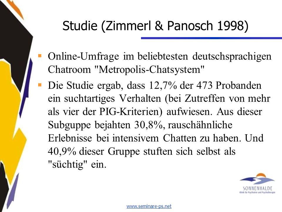 www.seminare-ps.net Studie (Zimmerl & Panosch 1998) Online-Umfrage im beliebtesten deutschsprachigen Chatroom Metropolis-Chatsystem Die Studie ergab, dass 12,7% der 473 Probanden ein suchtartiges Verhalten (bei Zutreffen von mehr als vier der PIG-Kriterien) aufwiesen.