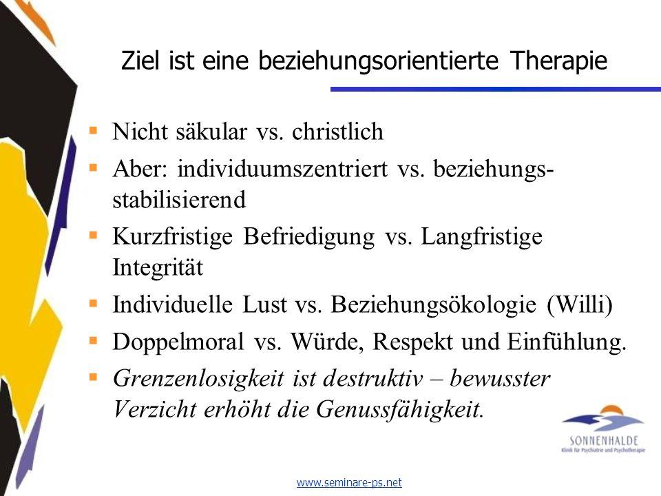 www.seminare-ps.net Ziel ist eine beziehungsorientierte Therapie Nicht säkular vs.
