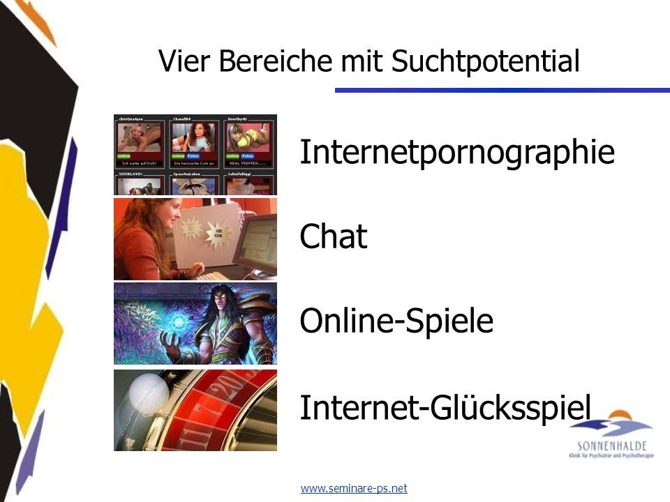 www.seminare-ps.net Vier Bereiche mit Suchtpotential Internetpornographie ChatOnline-SpieleInternet-Glücksspiel