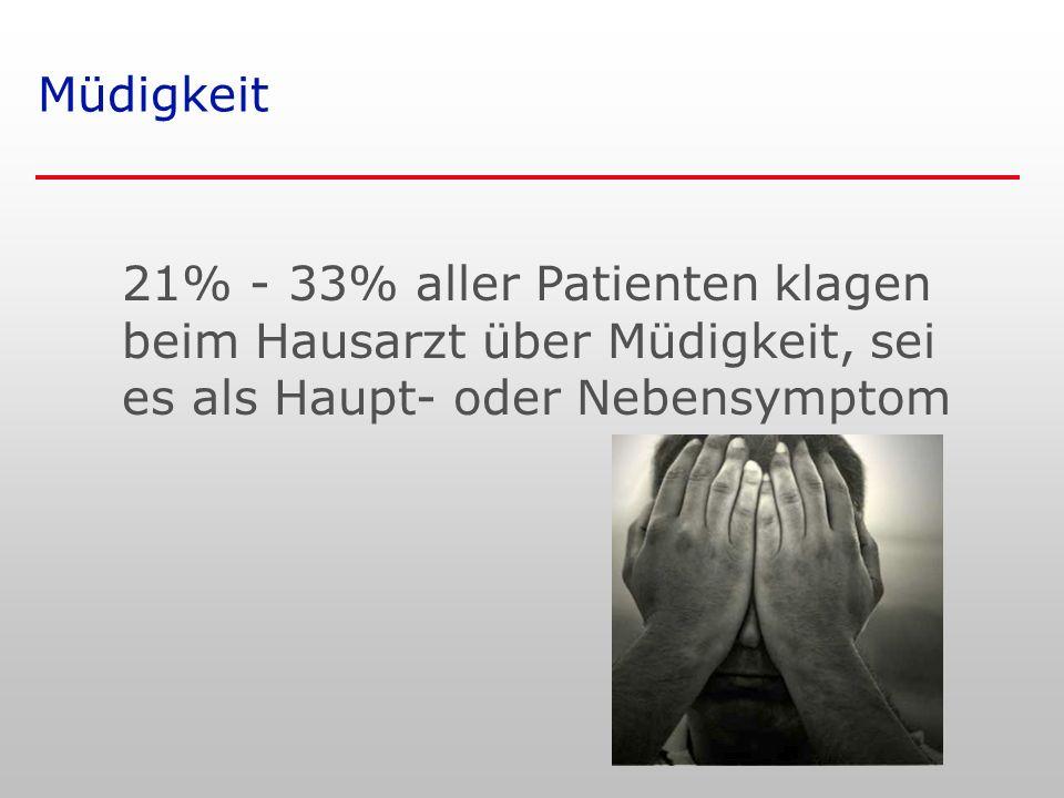 Müdigkeit 21% - 33% aller Patienten klagen beim Hausarzt über Müdigkeit, sei es als Haupt- oder Nebensymptom