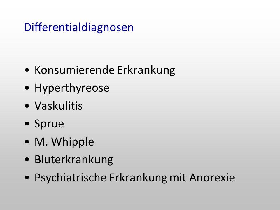 Differentialdiagnosen Konsumierende Erkrankung Hyperthyreose Vaskulitis Sprue M.