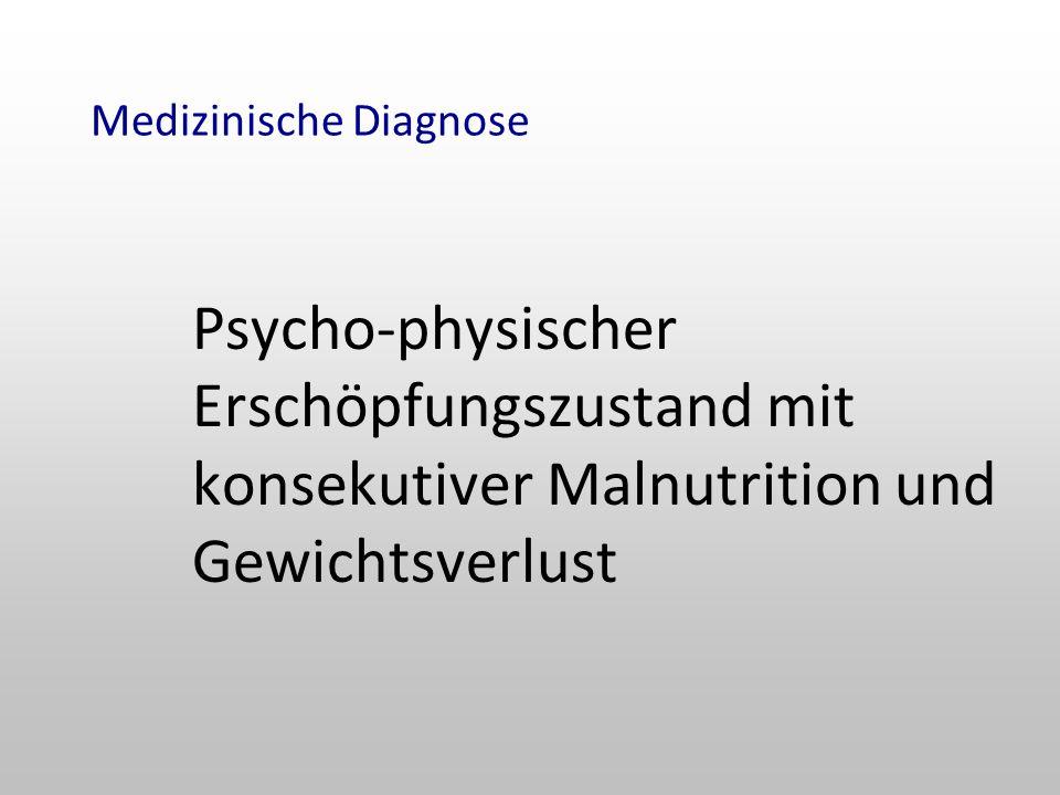 Medizinische Diagnose Psycho-physischer Erschöpfungszustand mit konsekutiver Malnutrition und Gewichtsverlust