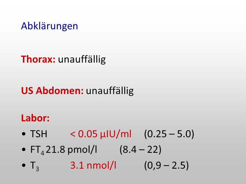 Abklärungen Thorax: unauffällig US Abdomen: unauffällig Labor: TSH< 0.05 µIU/ml(0.25 – 5.0) FT 4 21.8 pmol/l(8.4 – 22) T 3 3.1 nmol/l(0,9 – 2.5)