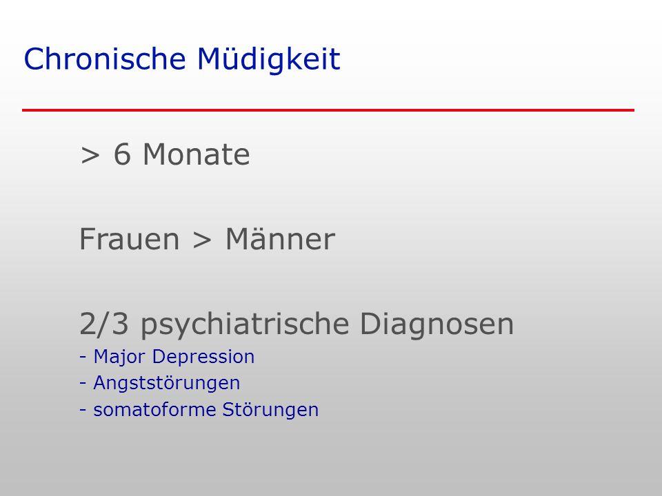 Chronische Müdigkeit > 6 Monate Frauen > Männer 2/3 psychiatrische Diagnosen - Major Depression - Angststörungen - somatoforme Störungen