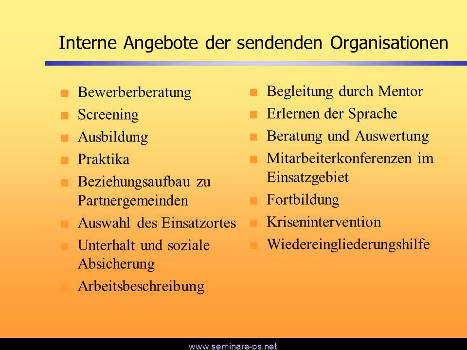 www.seminare-ps.net Interne Angebote der sendenden Organisationen Bewerberberatung Screening Ausbildung Praktika Beziehungsaufbau zu Partnergemeinden