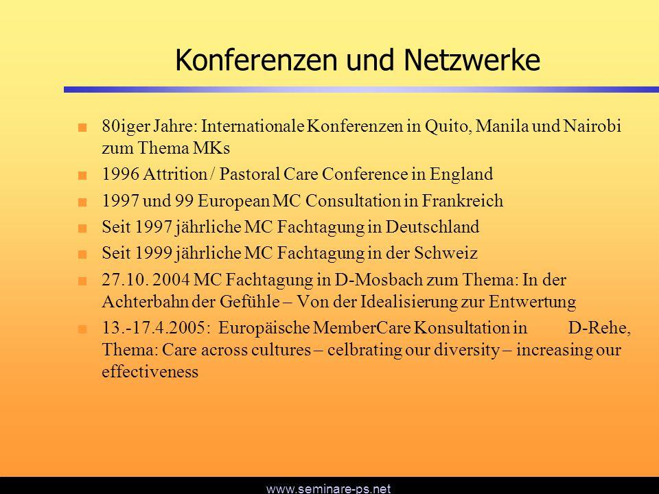 www.seminare-ps.net Konferenzen und Netzwerke 80iger Jahre: Internationale Konferenzen in Quito, Manila und Nairobi zum Thema MKs 1996 Attrition / Pas