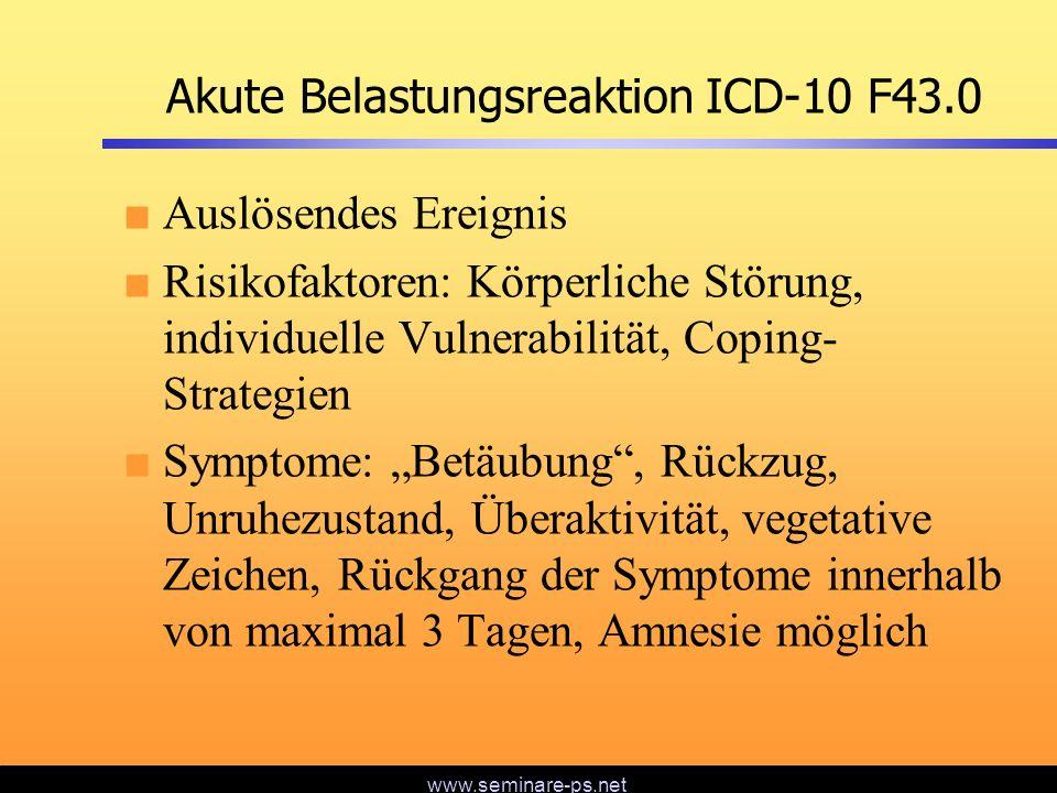 www.seminare-ps.net Akute Belastungsreaktion ICD-10 F43.0 Auslösendes Ereignis Risikofaktoren: Körperliche Störung, individuelle Vulnerabilität, Copin