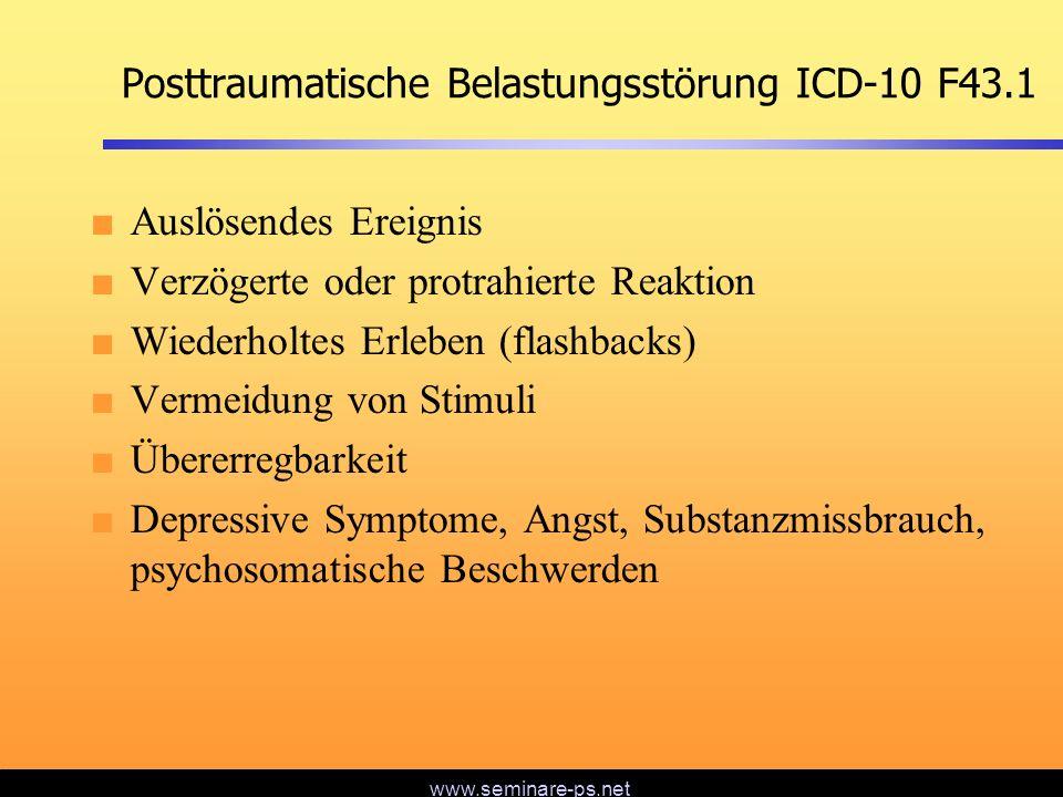 www.seminare-ps.net Posttraumatische Belastungsstörung ICD-10 F43.1 Auslösendes Ereignis Verzögerte oder protrahierte Reaktion Wiederholtes Erleben (f