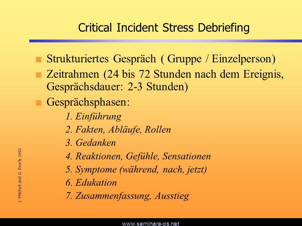 www.seminare-ps.net Critical Incident Stress Debriefing Strukturiertes Gespräch ( Gruppe / Einzelperson) Zeitrahmen (24 bis 72 Stunden nach dem Ereign
