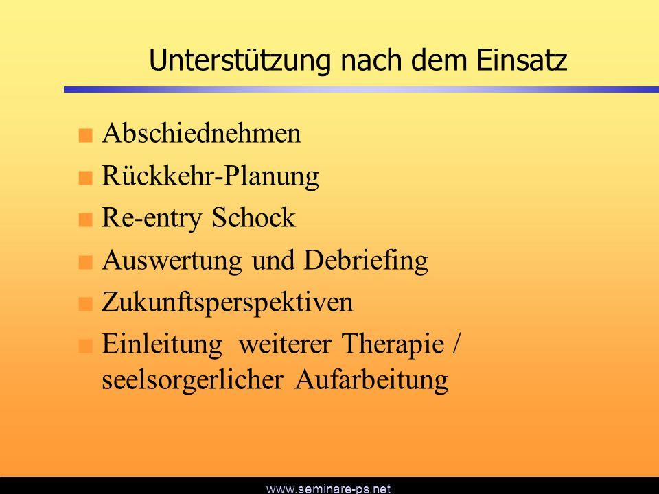 www.seminare-ps.net Unterstützung nach dem Einsatz Abschiednehmen Rückkehr-Planung Re-entry Schock Auswertung und Debriefing Zukunftsperspektiven Einl