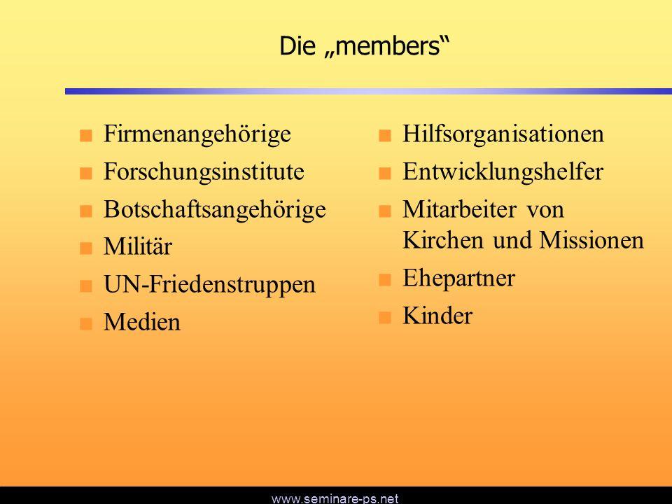 www.seminare-ps.net Definition von member-care Member-Care umfasst den ganzen Menschen (körperlich, psychologisch und geistlich) und den ganzen Missionarskreislauf (von der Rekrutierung bis zur Pensionierung) und alle Beteiligten (Singles, Ehepaare, Kinder, im Einsatzland und in der Heimat).