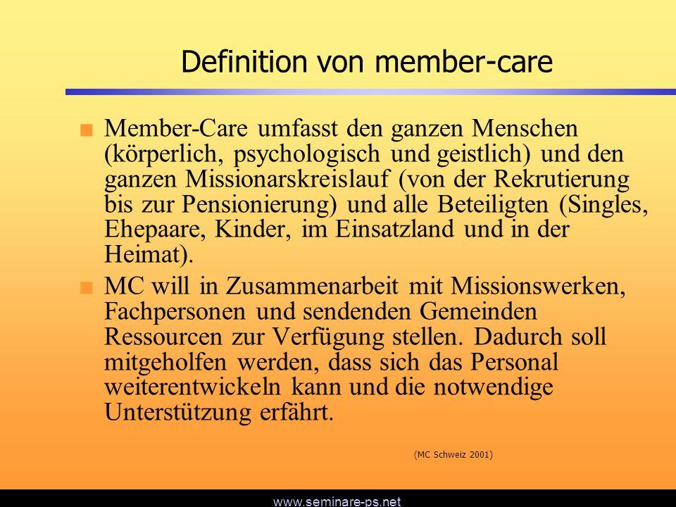 www.seminare-ps.net Hindernisse für member-care Fehlende Felderfahrung der Gremien Mangelhafte Kosteneinplanung Ungenügende Kommunikation Keine Spezialisten in der eigenen Organisation Falsche Geistlichkeit