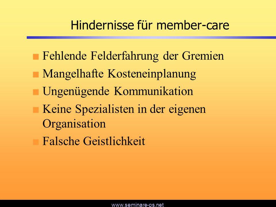 www.seminare-ps.net Hindernisse für member-care Fehlende Felderfahrung der Gremien Mangelhafte Kosteneinplanung Ungenügende Kommunikation Keine Spezia