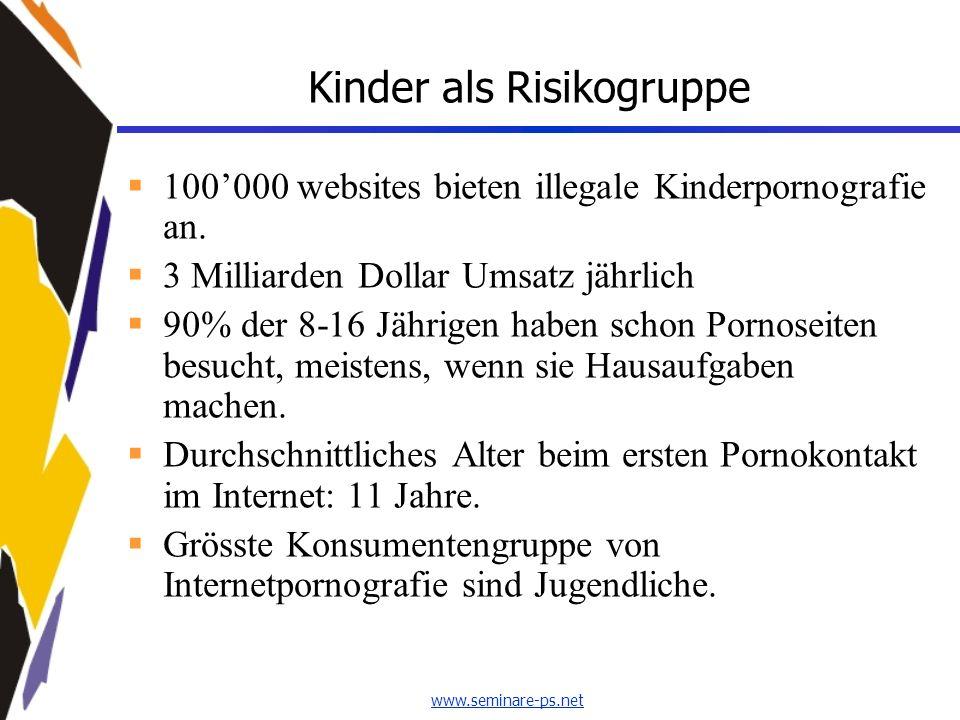 www.seminare-ps.net Kinder als Risikogruppe 100000 websites bieten illegale Kinderpornografie an. 3 Milliarden Dollar Umsatz jährlich 90% der 8-16 Jäh