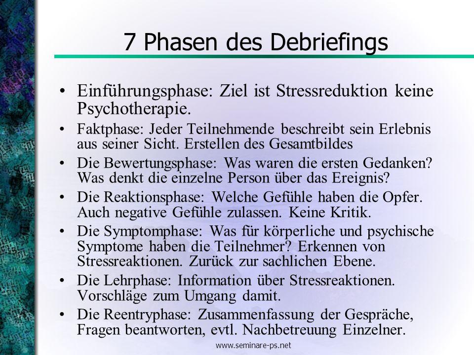 www.seminare-ps.net 7 Phasen des Debriefings Einführungsphase: Ziel ist Stressreduktion keine Psychotherapie. Faktphase: Jeder Teilnehmende beschreibt
