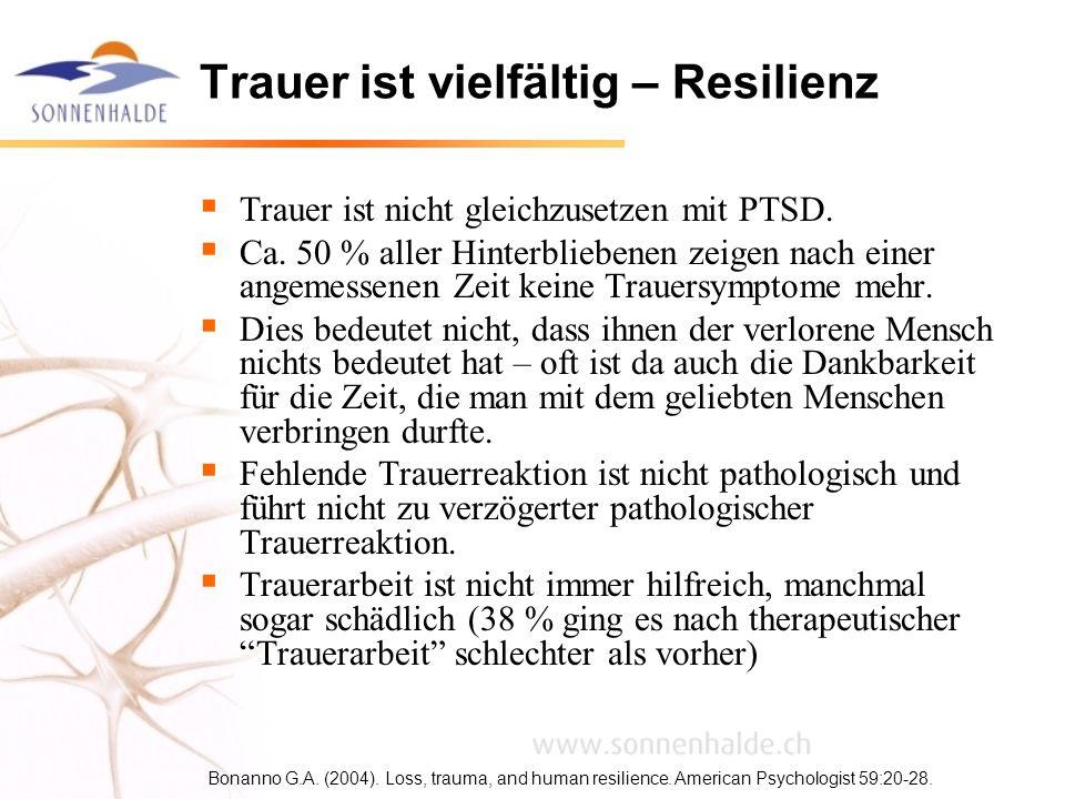 Trauer ist vielfältig – Resilienz Trauer ist nicht gleichzusetzen mit PTSD. Ca. 50 % aller Hinterbliebenen zeigen nach einer angemessenen Zeit keine T