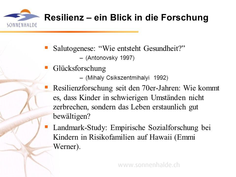 Resilienz – ein Blick in die Forschung Salutogenese: Wie entsteht Gesundheit? –(Antonovsky 1997) Glücksforschung –(Mihaly Csikszentmihalyi 1992) Resil