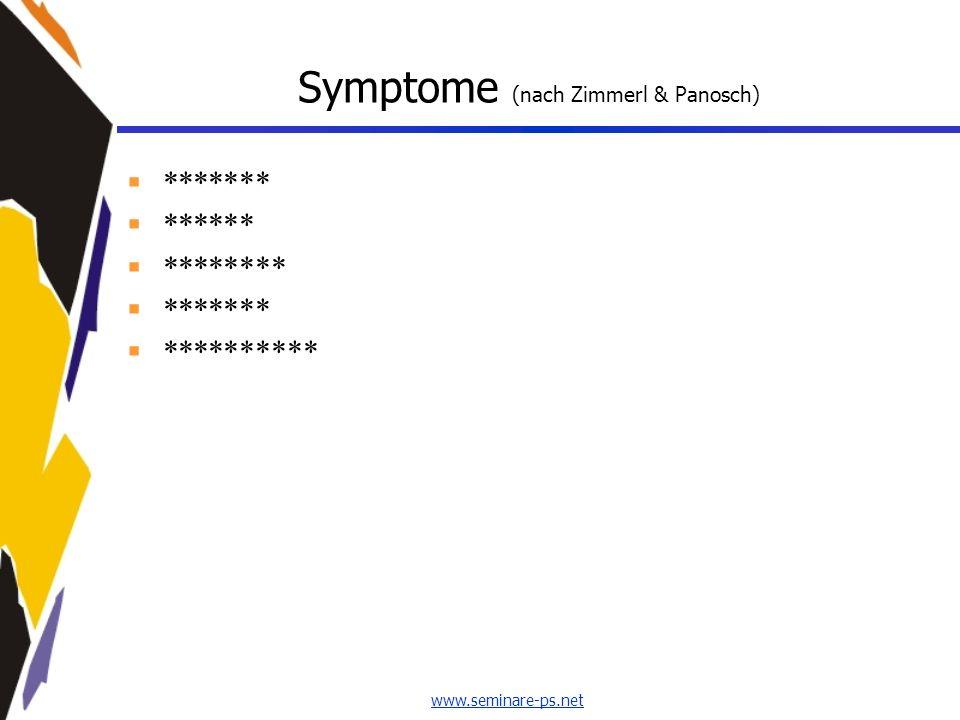 www.seminare-ps.net Symptome (nach Zimmerl & Panosch) ******* ****** ******** ******* **********