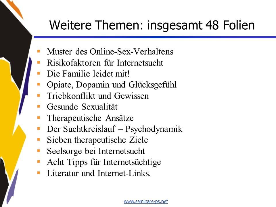 www.seminare-ps.net Weitere Themen: insgesamt 48 Folien Muster des Online-Sex-Verhaltens Risikofaktoren für Internetsucht Die Familie leidet mit! Opia