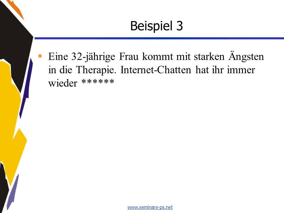 www.seminare-ps.net Beispiel 3 Eine 32-jährige Frau kommt mit starken Ängsten in die Therapie. Internet-Chatten hat ihr immer wieder ******
