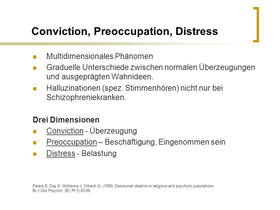 Conviction, Preoccupation, Distress Multidimensionales Phänomen Graduelle Unterschiede zwischen normalen Überzeugungen und ausgeprägten Wahnideen. Hal