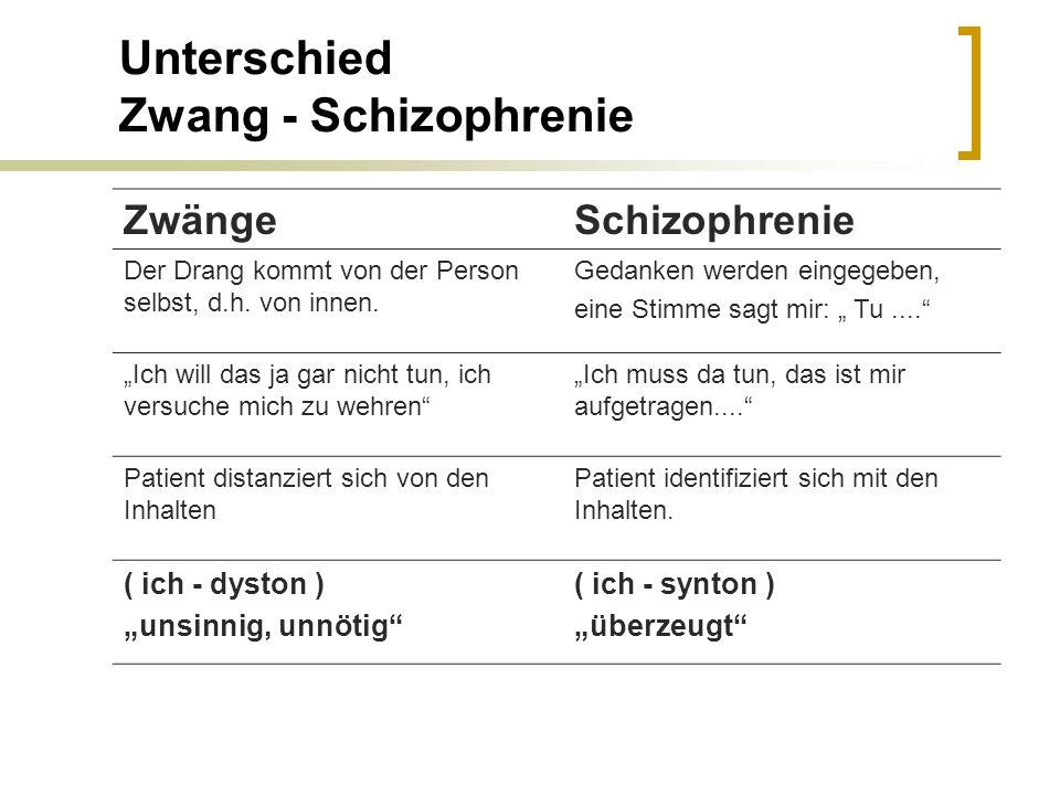 Unterschied Zwang - Schizophrenie ZwängeSchizophrenie Der Drang kommt von der Person selbst, d.h. von innen. Gedanken werden eingegeben, eine Stimme s
