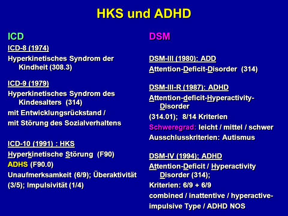 HKS und ADHD ICD ICD-8 (1974) Hyperkinetisches Syndrom der Kindheit (308.3) ICD-9 (1979) Hyperkinetisches Syndrom des Kindesalters (314) mit Entwicklu