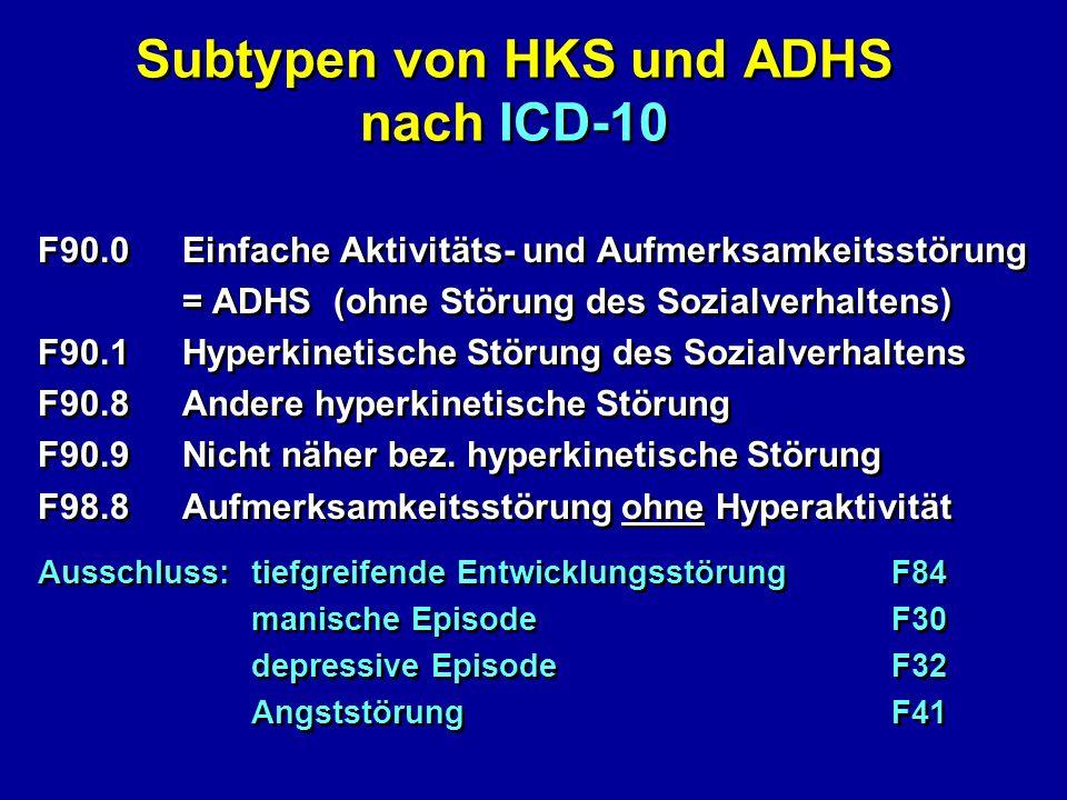 Subtypen von HKS und ADHS nach ICD-10 F90.0Einfache Aktivitäts- und Aufmerksamkeitsstörung = ADHS (ohne Störung des Sozialverhaltens) F90.1Hyperkineti