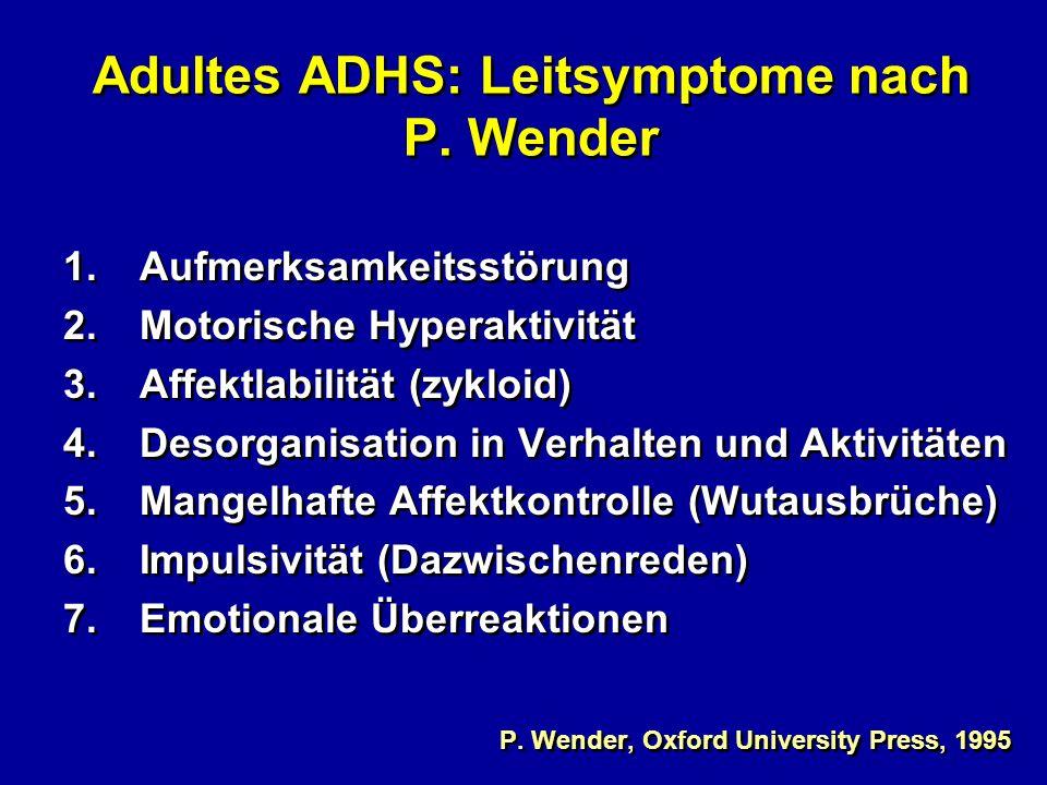 Adultes ADHS: Leitsymptome nach P. Wender 1.Aufmerksamkeitsstörung 2.Motorische Hyperaktivität 3.Affektlabilität (zykloid) 4. Desorganisation in Verha