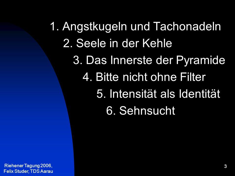 Riehener Tagung 2006, Felix Studer, TDS Aarau 24 Wenn die Stillung der Bedürfnisse zum obersten Ziel erhoben wird, dann ist die Wurzel der Unruhe gelegt.