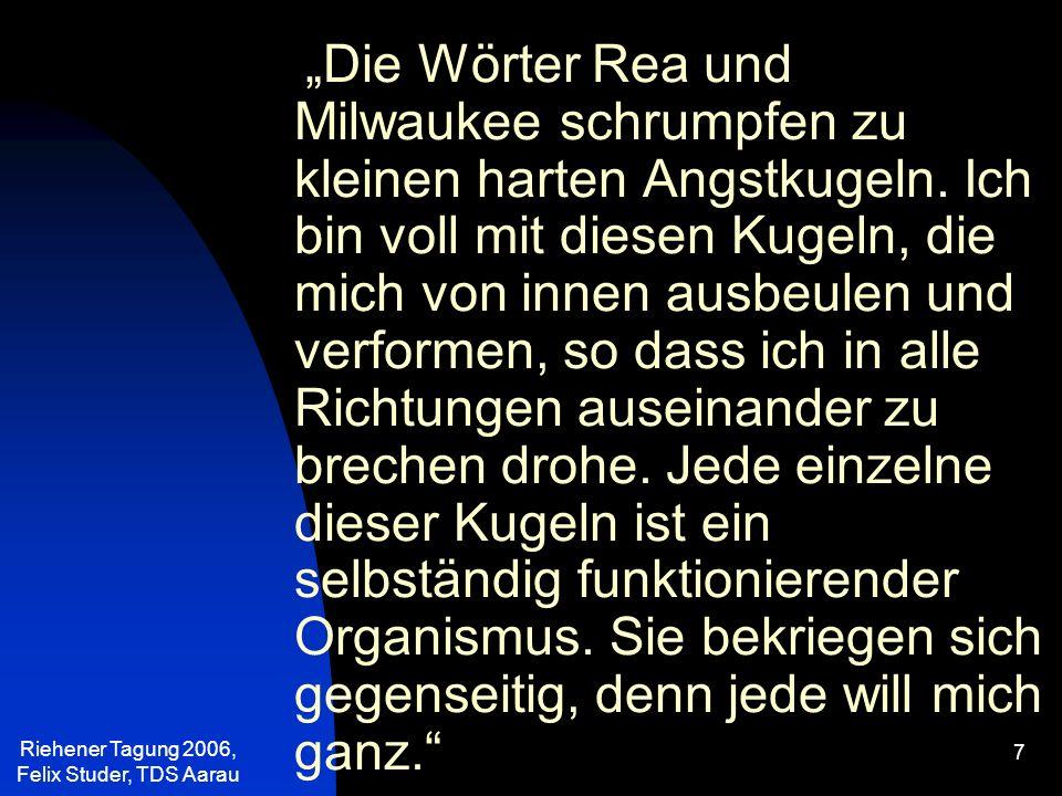 Riehener Tagung 2006, Felix Studer, TDS Aarau 58 Die abfedernden, schützenden, klar strukturierten Familien werden seltener in unserer Gesellschaft.