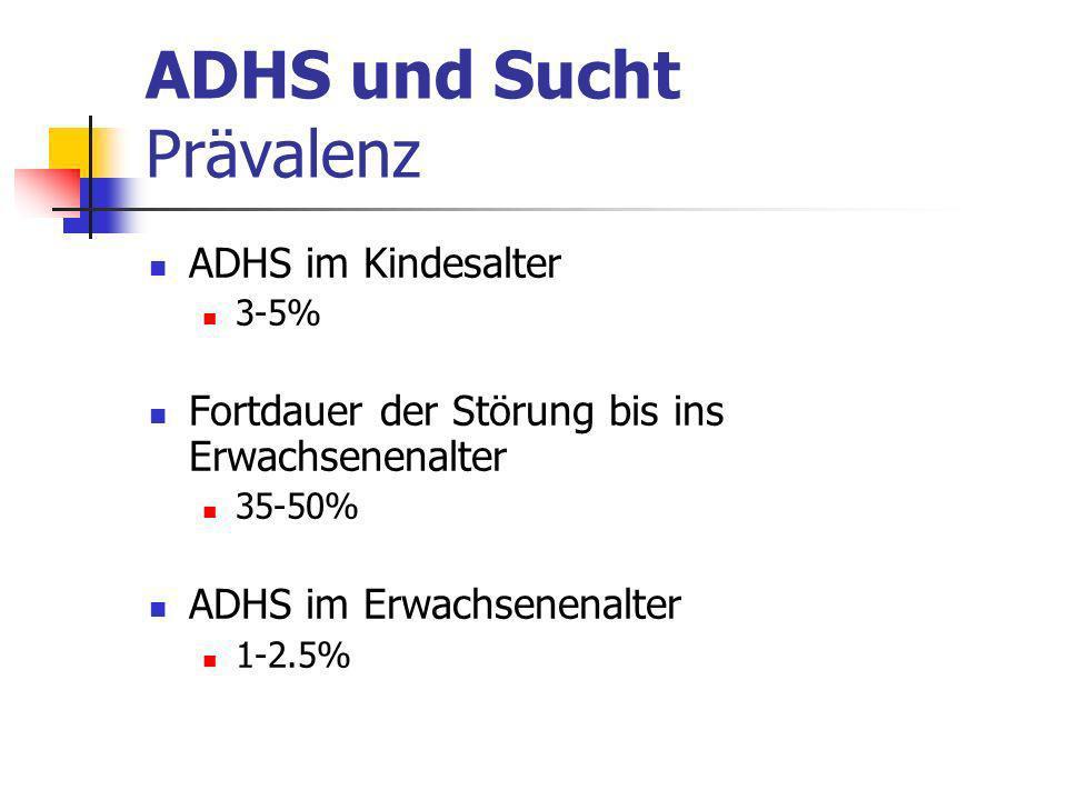 ADHS und Sucht Prävalenz ADHS im Kindesalter 3-5% Fortdauer der Störung bis ins Erwachsenenalter 35-50% ADHS im Erwachsenenalter 1-2.5%