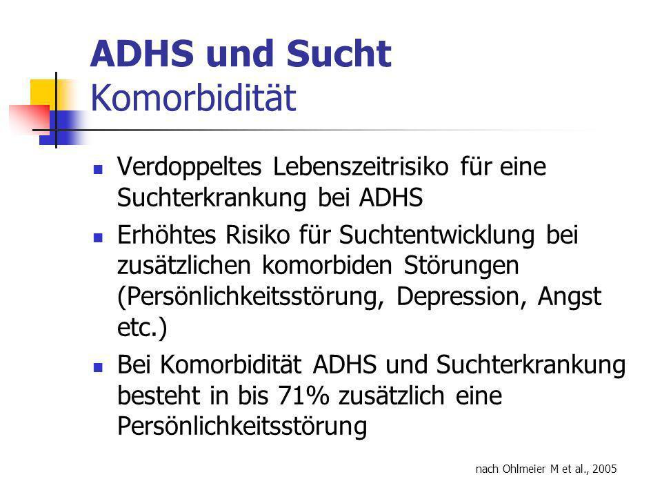 ADHS und Sucht Komorbidität Verdoppeltes Lebenszeitrisiko für eine Suchterkrankung bei ADHS Erhöhtes Risiko für Suchtentwicklung bei zusätzlichen komorbiden Störungen (Persönlichkeitsstörung, Depression, Angst etc.) Bei Komorbidität ADHS und Suchterkrankung besteht in bis 71% zusätzlich eine Persönlichkeitsstörung nach Ohlmeier M et al., 2005