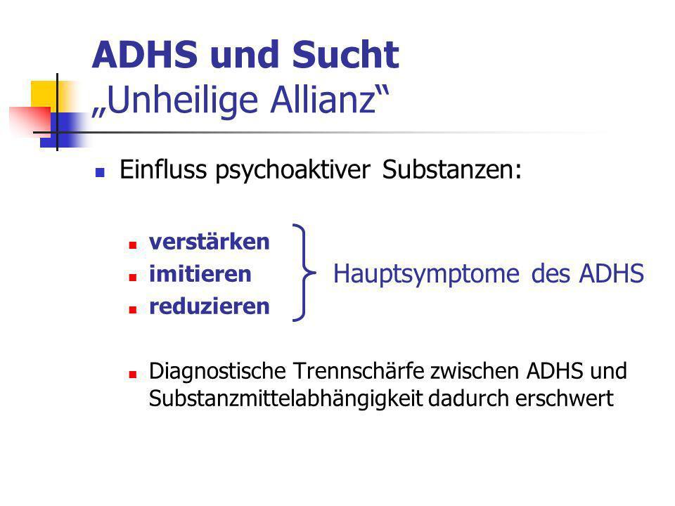 ADHS und Sucht Unheilige Allianz Einfluss psychoaktiver Substanzen: verstärken imitieren reduzieren Diagnostische Trennschärfe zwischen ADHS und Substanzmittelabhängigkeit dadurch erschwert Hauptsymptome des ADHS