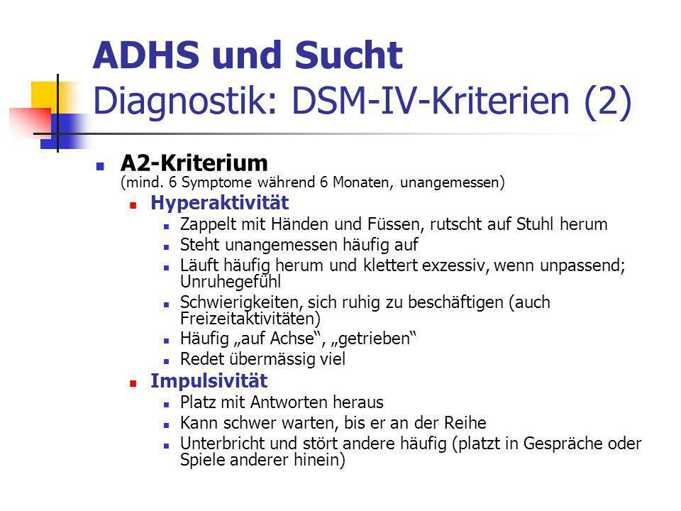 ADHS und Sucht Diagnostik: DSM-IV-Kriterien (2) A2-Kriterium (mind.