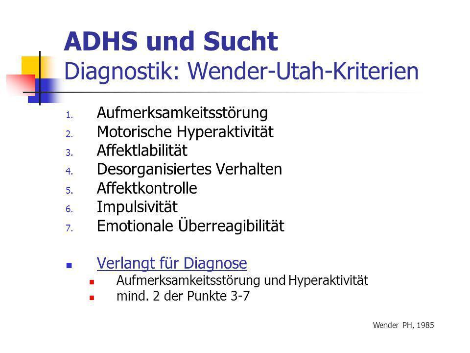 ADHS und Sucht Diagnostik: Wender-Utah-Kriterien 1.