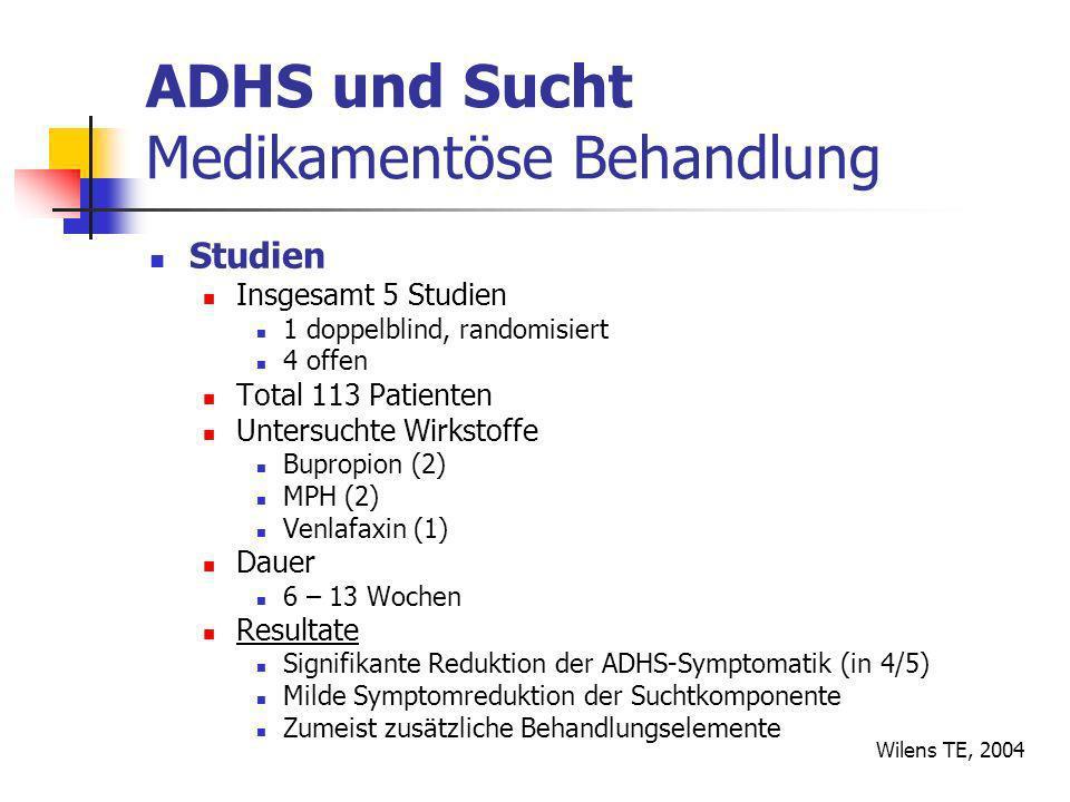 ADHS und Sucht Medikamentöse Behandlung Studien Insgesamt 5 Studien 1 doppelblind, randomisiert 4 offen Total 113 Patienten Untersuchte Wirkstoffe Bupropion (2) MPH (2) Venlafaxin (1) Dauer 6 – 13 Wochen Resultate Signifikante Reduktion der ADHS-Symptomatik (in 4/5) Milde Symptomreduktion der Suchtkomponente Zumeist zusätzliche Behandlungselemente Wilens TE, 2004