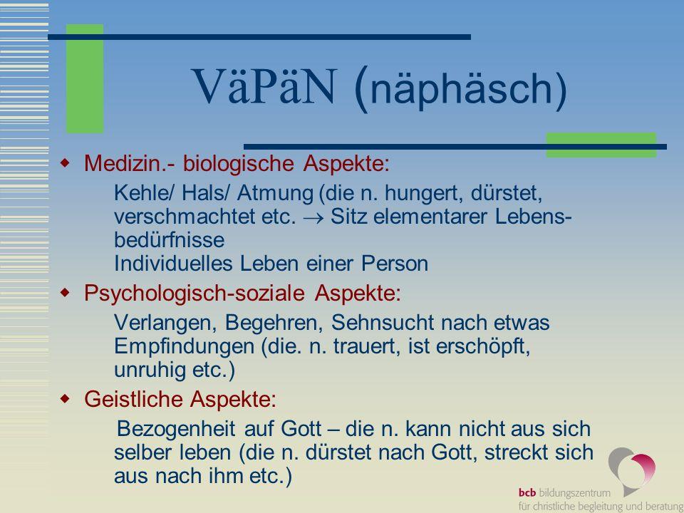 VäPäN ( näphäsch) Medizin.- biologische Aspekte: Kehle/ Hals/ Atmung (die n. hungert, dürstet, verschmachtet etc. Sitz elementarer Lebens- bedürfnisse