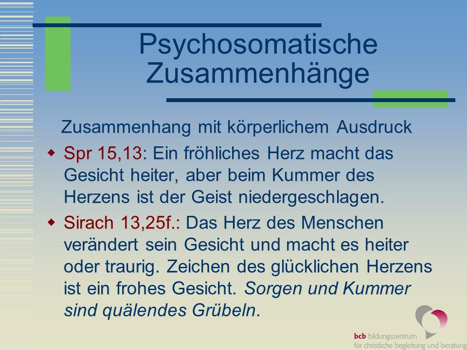 Psychosomatische Zusammenhänge – Beispiele aus der Weisheit Anweisungen für eine gelingendes Leben.