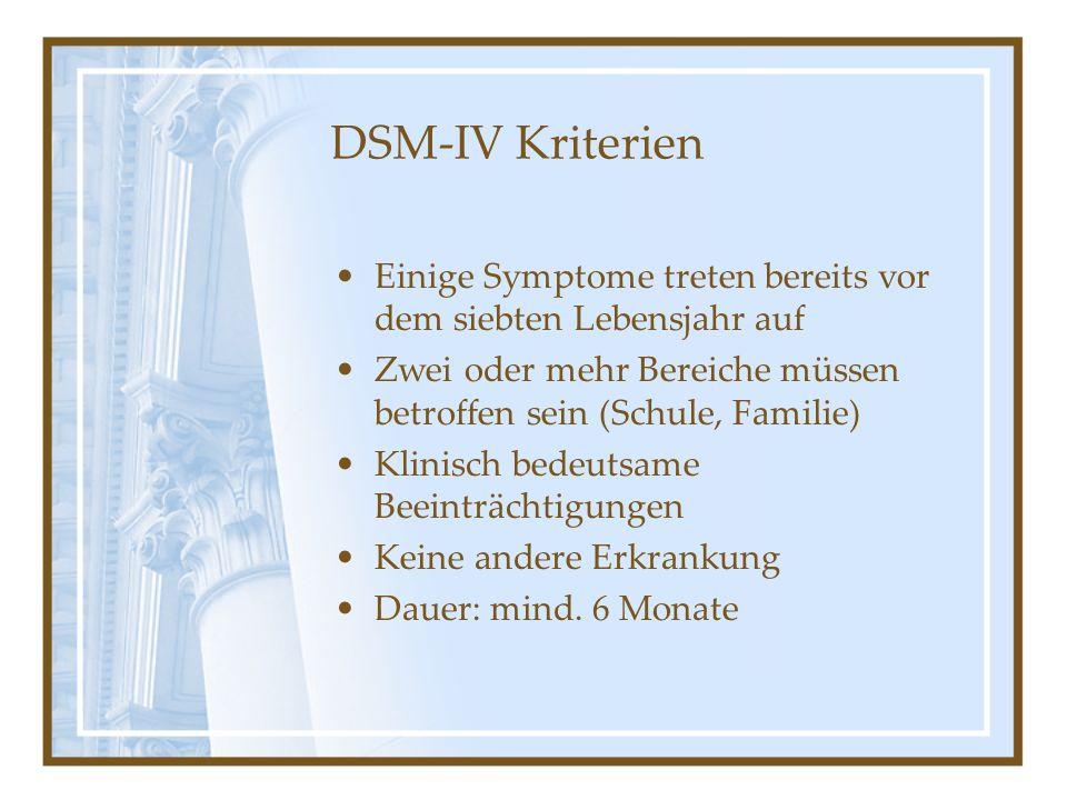 DSM-IV Kriterien Einige Symptome treten bereits vor dem siebten Lebensjahr auf Zwei oder mehr Bereiche müssen betroffen sein (Schule, Familie) Klinisc