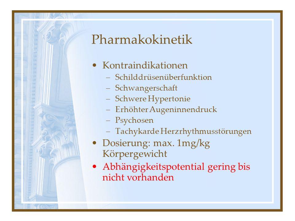 Pharmakokinetik Kontraindikationen –Schilddrüsenüberfunktion –Schwangerschaft –Schwere Hypertonie –Erhöhter Augeninnendruck –Psychosen –Tachykarde Her