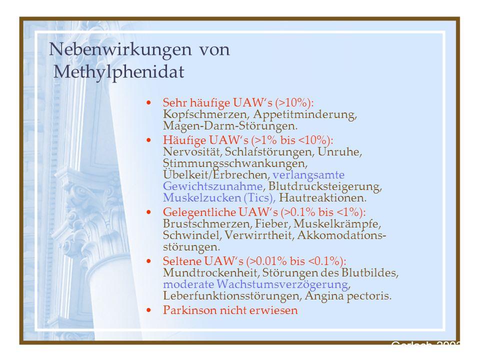 Nebenwirkungen von Methylphenidat Sehr häufige UAWs (>10%): Kopfschmerzen, Appetitminderung, Magen-Darm-Störungen. Häufige UAWs (>1% bis <10%): Nervos