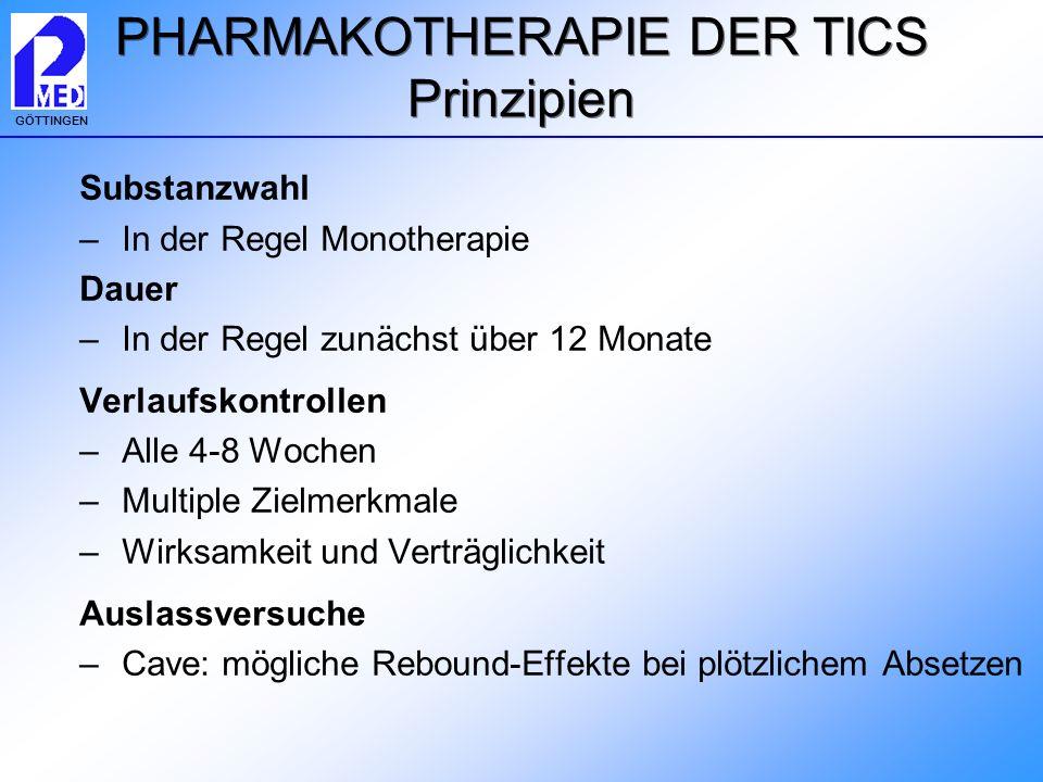 GÖTTINGEN Substanzwahl –In der Regel Monotherapie Dauer –In der Regel zunächst über 12 Monate Verlaufskontrollen –Alle 4-8 Wochen –Multiple Zielmerkma
