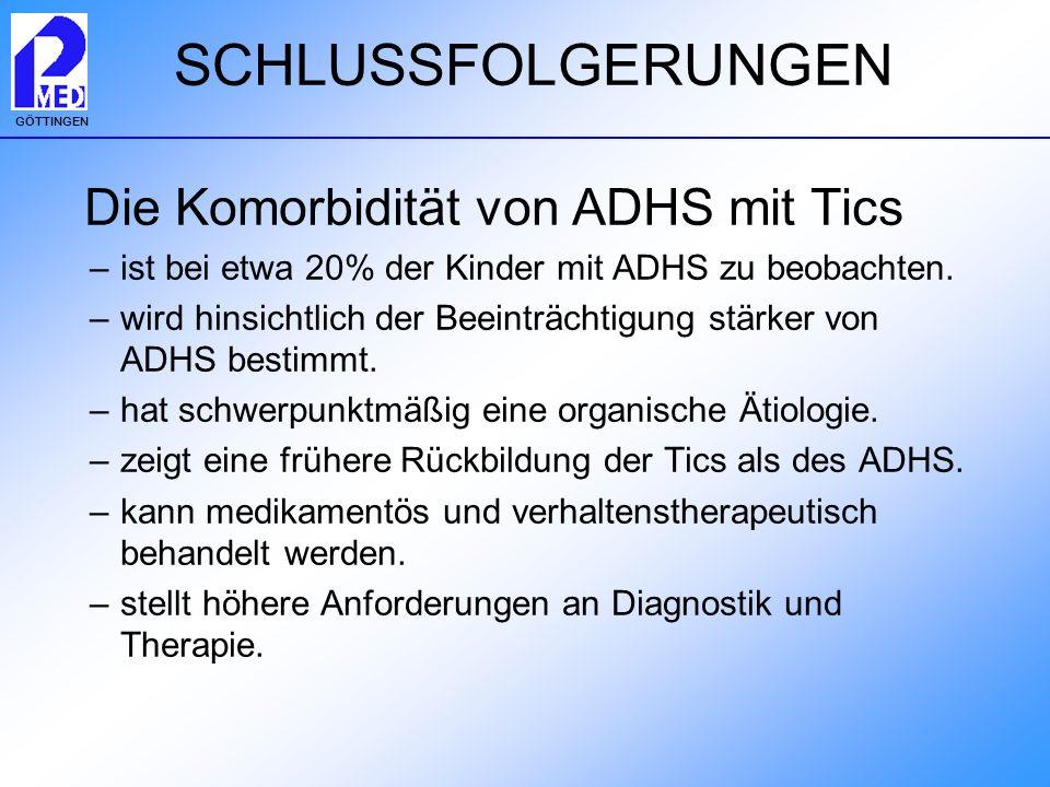 GÖTTINGEN SCHLUSSFOLGERUNGEN Die Komorbidität von ADHS mit Tics –ist bei etwa 20% der Kinder mit ADHS zu beobachten. –wird hinsichtlich der Beeinträch