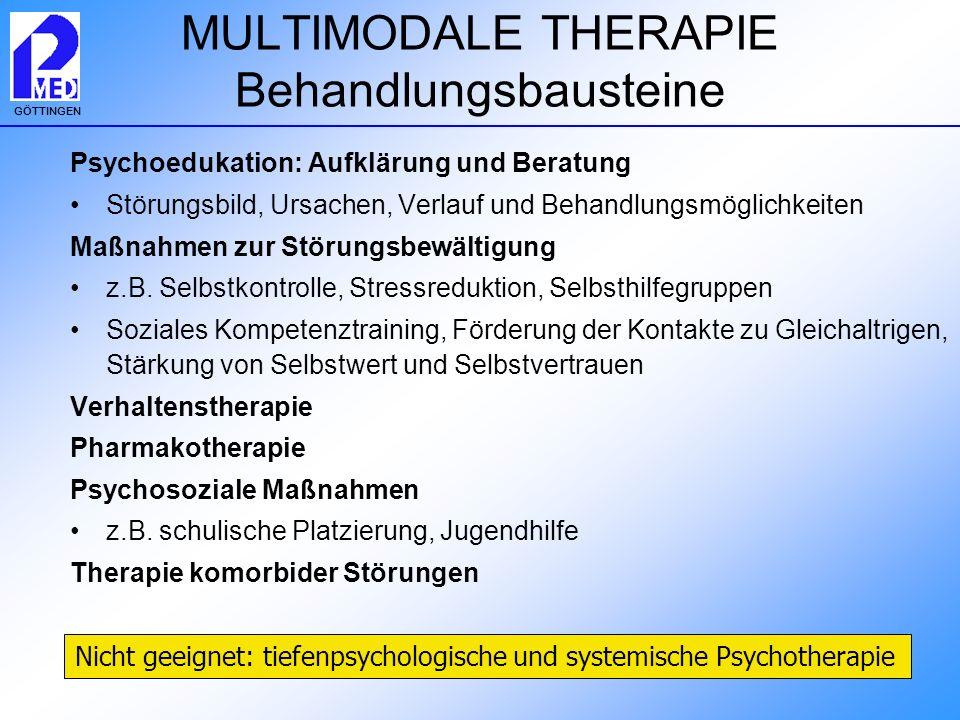 GÖTTINGEN MULTIMODALE THERAPIE Behandlungsbausteine Psychoedukation: Aufklärung und Beratung Störungsbild, Ursachen, Verlauf und Behandlungsmöglichkei