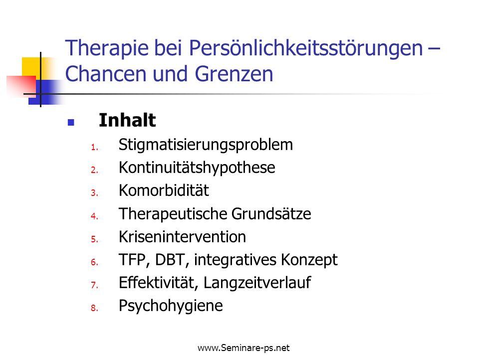 www.Seminare-ps.net Therapie bei Persönlichkeitsstörungen Langzeitverlauf der Psychopathologie Remissionen / Rückfälle von BPS über Beobachtungszeit von 6 Jahren nach Hospitalisation 2-Jahres- Follow-up (N=275) 4-Jahres- Follow-up (N=269) 6-Jahres- Follow-up (N=264) Über 6 Jahre insgesamt (N=275) VariableN%N%N%N%N%N%N%N% Remission95 34.5 133 49.4 181 68.6 202 73.5 Rückfälle6 6.4 6 4.6 12 5.9 Zanarini MC et al.
