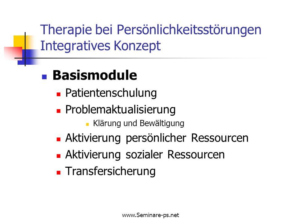 www.Seminare-ps.net Therapie bei Persönlichkeitsstörungen Integratives Konzept Basismodule Patientenschulung Problemaktualisierung Klärung und Bewälti