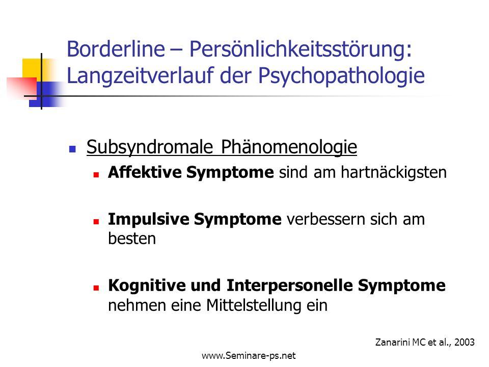 www.Seminare-ps.net Borderline – Persönlichkeitsstörung: Langzeitverlauf der Psychopathologie Subsyndromale Phänomenologie Affektive Symptome sind am